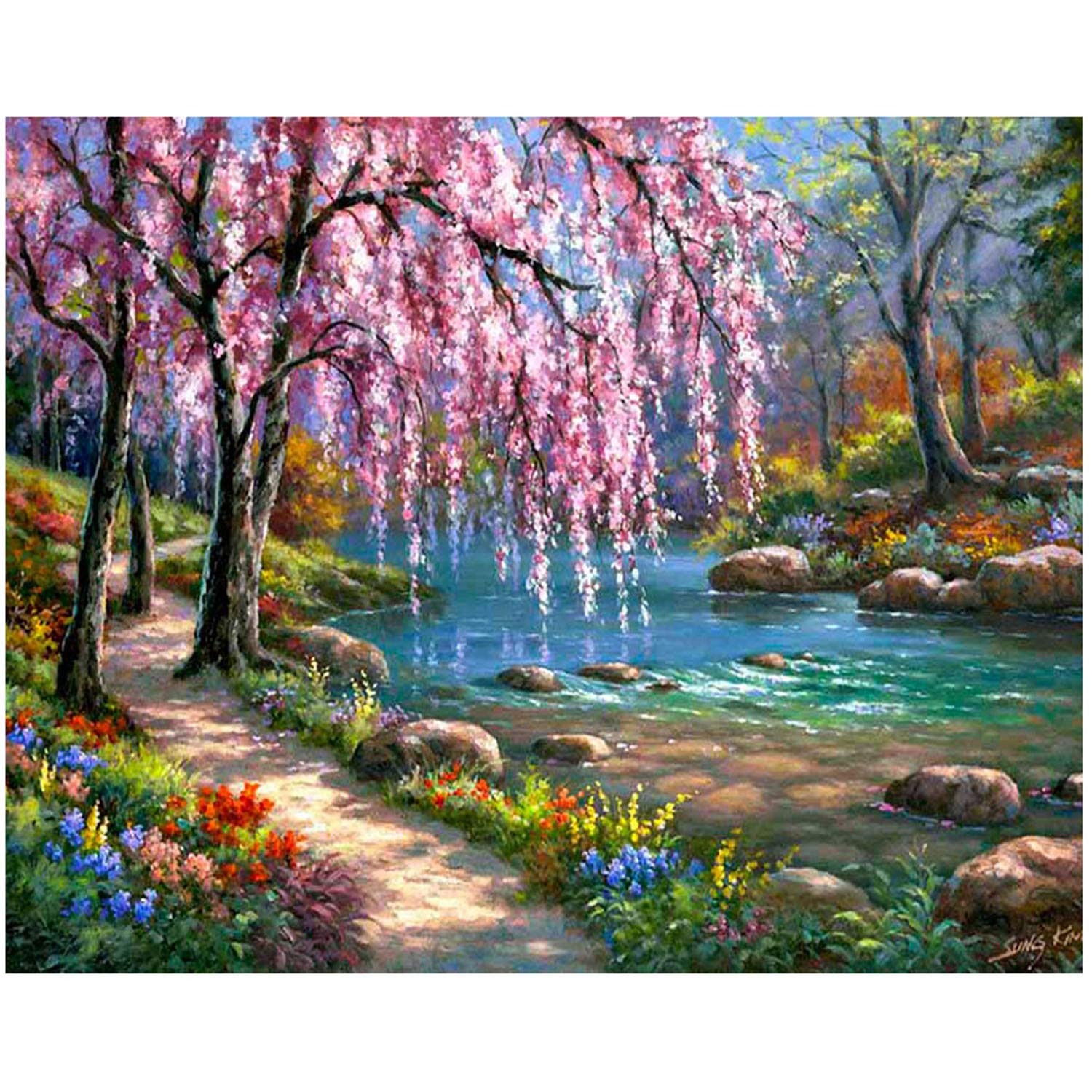 ANMUXI 5D Diamond Painting Kits Full SQUARE Drills for Adults 20X30CM Pink Tree Landscape Scenery Paint With Diamonds Art for Stress-relief /& Home Decor