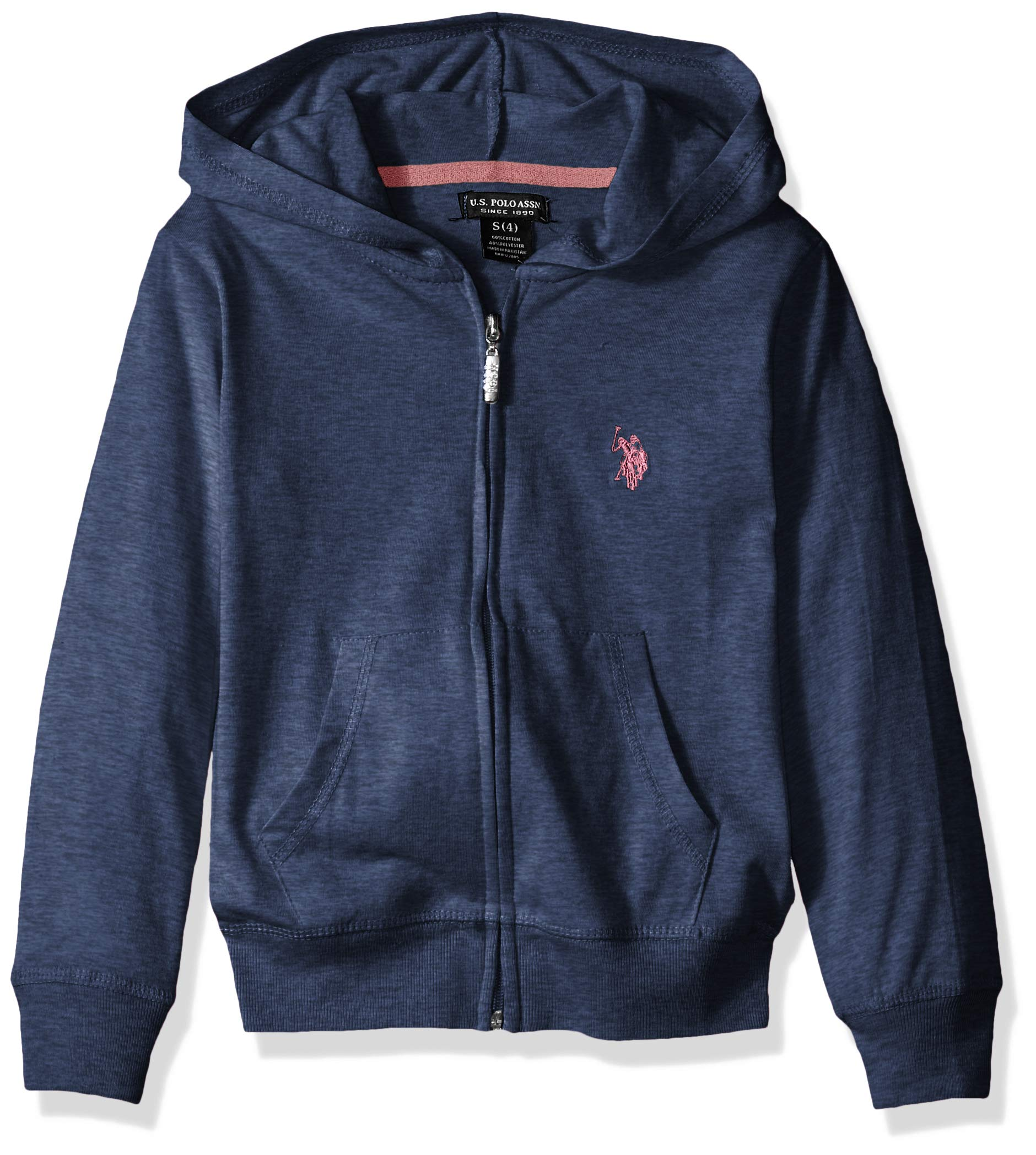U.S. Polo Assn. Big Girls' Long Sleeve Jersey Hoodie, As Zip up Blue Heather, 10/12