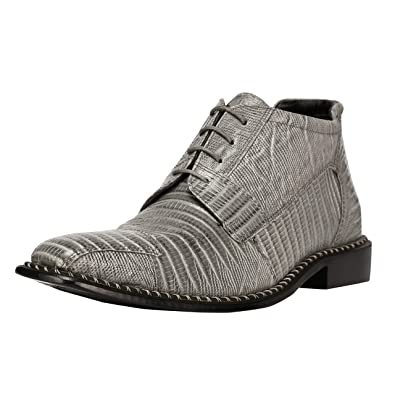 142092073ed Liberty Men's Genuine Leather Ankle High Top Lizard Print Lace Up Dress  Shoes