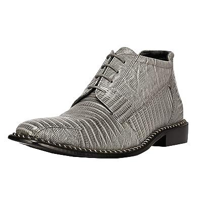 9e1417ebc1b Liberty Men's Genuine Leather Ankle High Top Lizard Print Lace Up Dress  Shoes