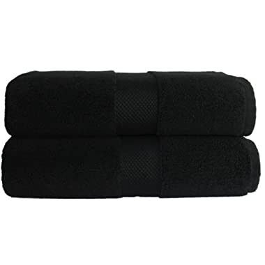 Cotton Craft - 2 Pack Luxuriously Oversized Hotel Bath Sheet - Black - 100% Ringspun Cotton - 40x80 - Heavy Weight 700 Grams - 2 Ply Construction - Highly Absorbent - Easy Care Machine Wash