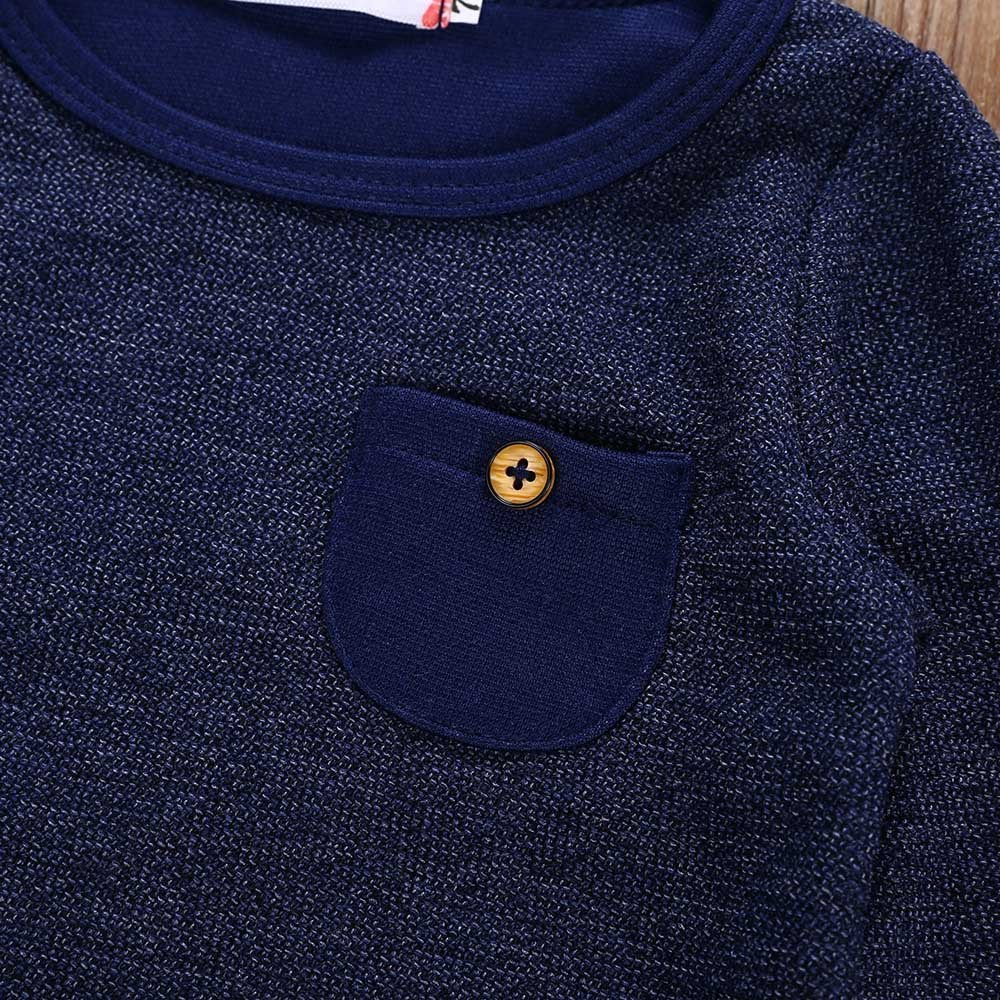 Mike Franklins Newborn Infant Baby Boys Girls Solid Pocket Tops T-Shirt Pants Outfits Set