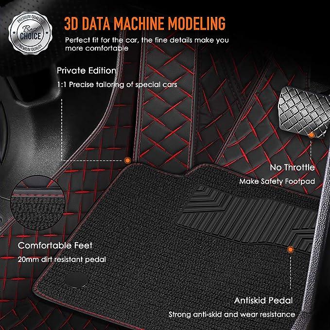 Kanredi Custom Fit Full Covered Car Carpet FloorLiner Floor Mats for BMW 3 Series Year 2008-2012; 2013-2017 Black, Double Layer
