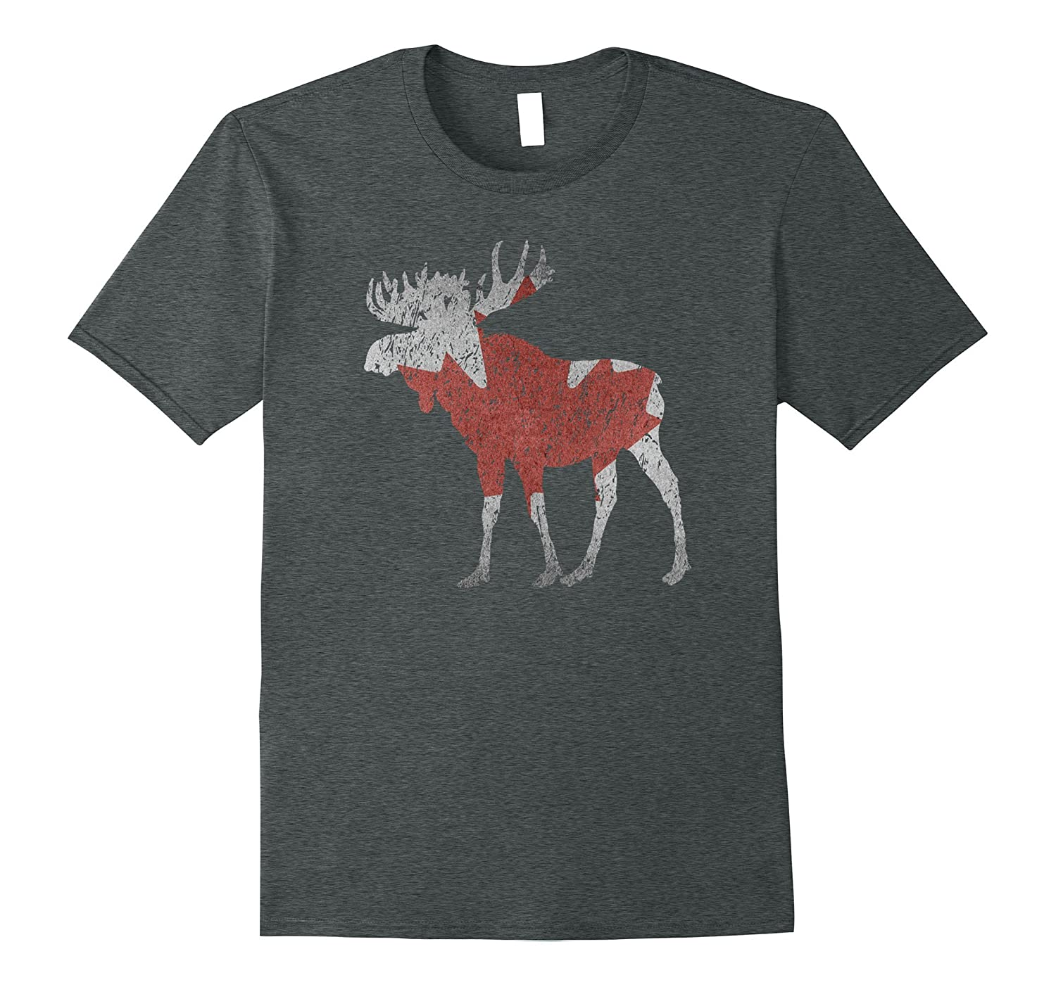 Distressed Vintage Moose Silhouette Canadian Flag T-shirt-CD