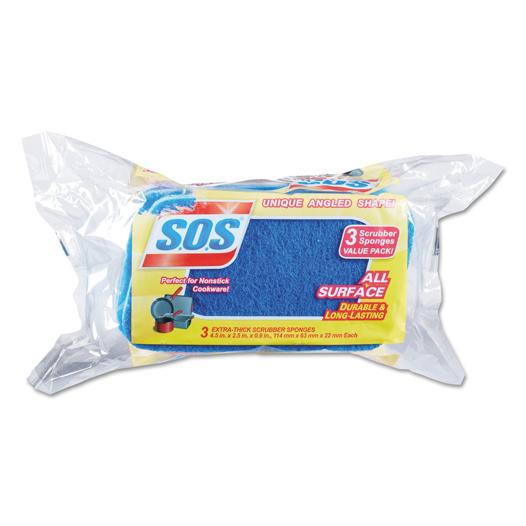 S.O.S. 91028CT All Surface Scrubber Sponge, 2 1/2 x 4 1/2, 0.9'' Thick, Blue, Pack of 3 (Case of 8)