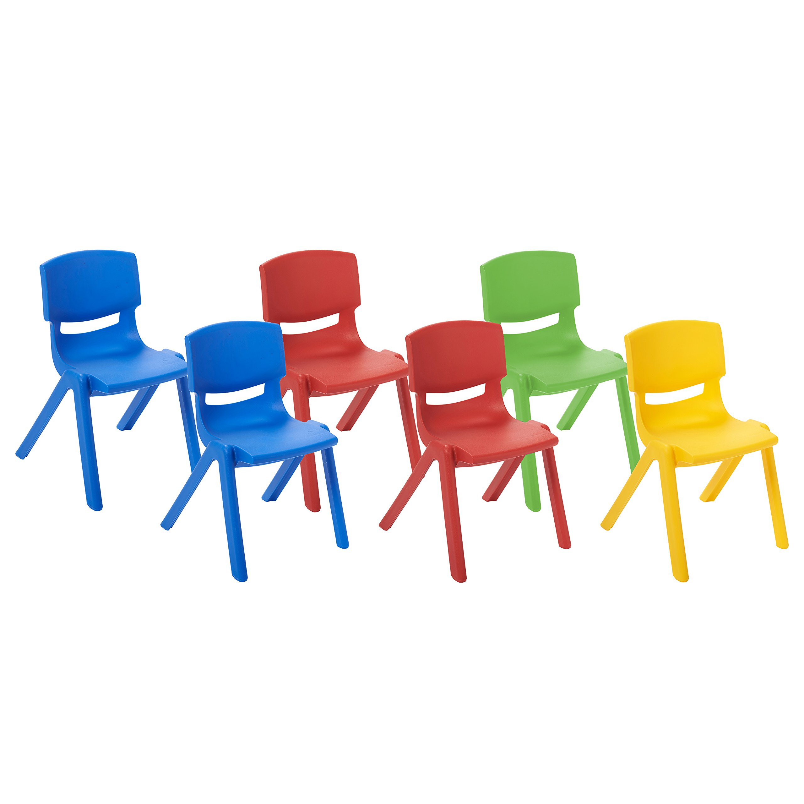 ECR4Kids School Stack Resin Chair, Indoor/Outdoor Plastic Stacking Chairs for Kids, 12 inch Seat Height, Assorted Colors (6-Pack)