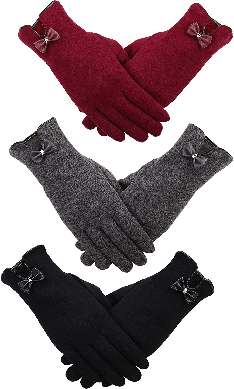 Patelai 3 Pairs Women Winter Gloves Warm Touchscreen Gloves Windproof Gloves for Women Girls Winter Using (Black, Gray, Red 3)