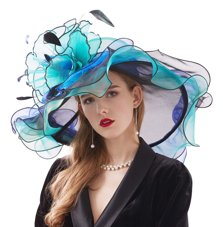 Bellady Women Organza Church Derby Hat Ruffles Wide Brim Summer Bridal Cap,Blue Derby Day Hats,One Size by Bellady (Image #2)