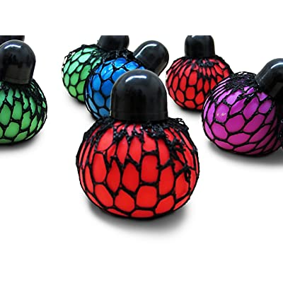 Dazzling Toys 12 pc (1 Dozen ) Mesh Squishy Stress Relief Balls Tear-Resistant Non-Toxic, Birthday Party Favors , for Kids & Adults for Autism, ADHD, Bad Habits: Toys & Games