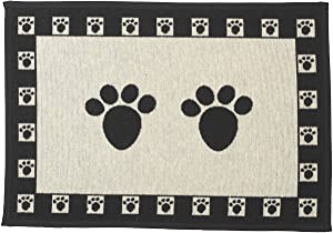 PetRageous 10209 Paws Tapestry Dog Non-Skid Machine Washable Placemat for Pet Feeding Stations with Rubber Backing 13-Inch by 19-Inch for Dogs and Cats, Black and Natural
