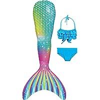 YORKING Mermaid Tail for Swimming with Monofin - Cosplay Costume Bikini Swimsuit for Girls
