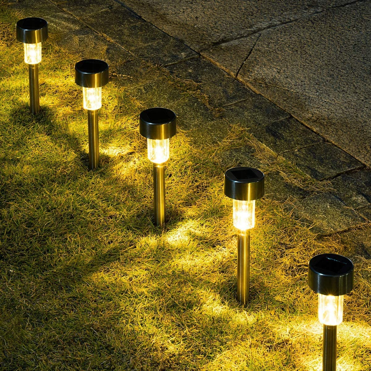 GIGALUMI 16 Pack Solar Path Lights Outdoor,Solar Lights Outdoor Garden Led Light Landscape/Pathway Lights for Patio/Lawn/Yard/Driveway/Walkway (Stainless Steel,Warm White)