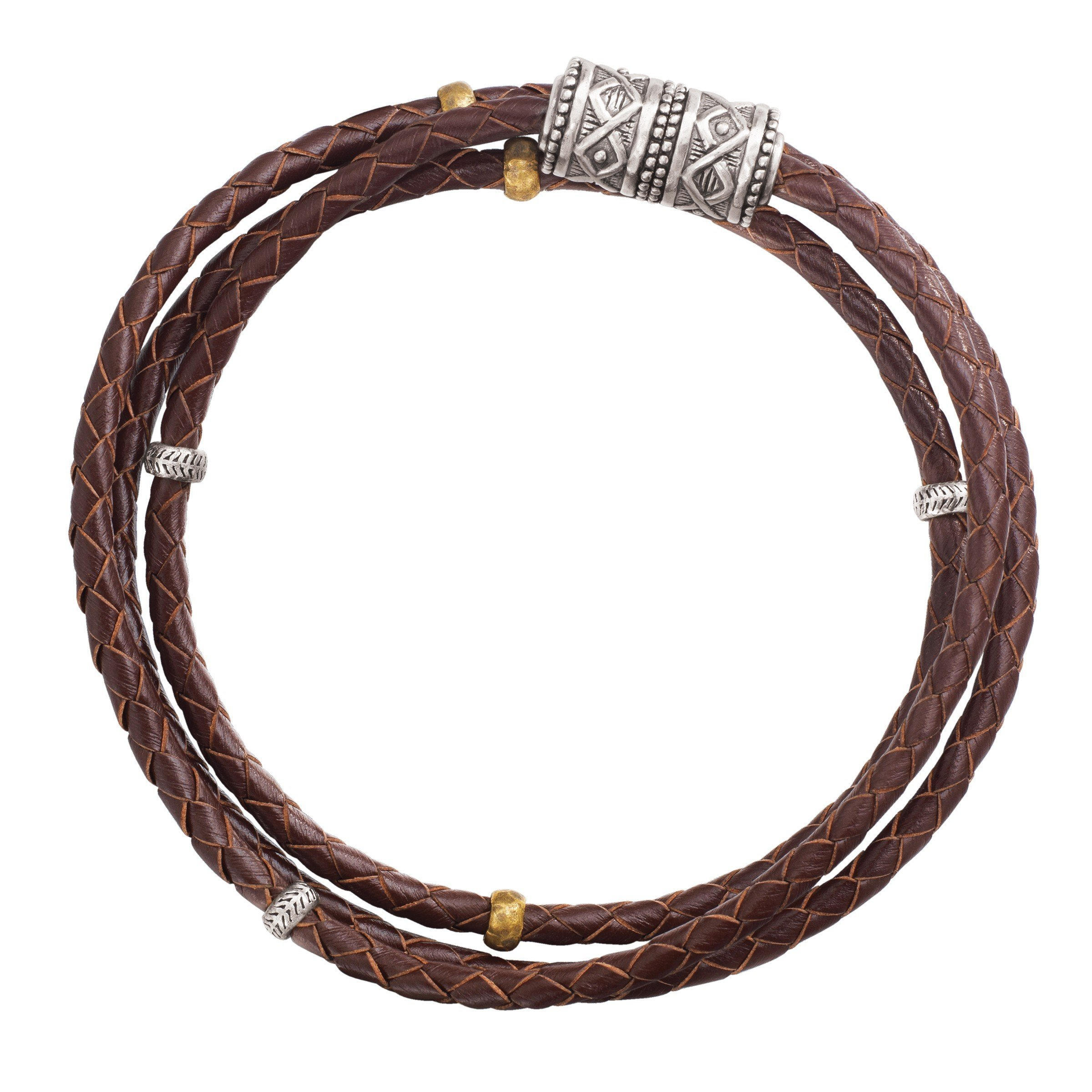 Silpada 'Multi-Purpose' Genuine Leather Wrap Chain Bracelet in Sterling Silver and Brass, 29''