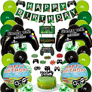 Video Game Party Supplies, Gamer Party Decorations,Gaming Theme Party Decorations, Happy Birthday Gaming Banner Video Game Party Balloons Welcome Hanging Decor for Gamer, Boys Birthday Party Favors