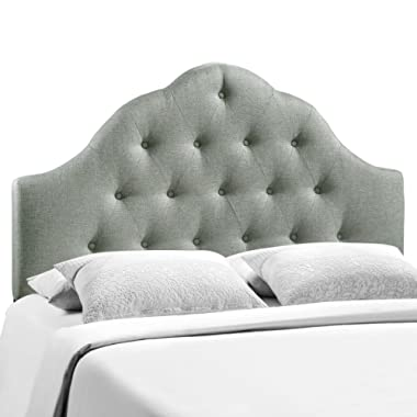 Modway Sovereign King Upholstered Linen Headboard in Gray