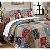 Cozy Line Home Fashions Sanders Red Navy Blue Brown Floral Print Real Patchwork, 100% Cotton Reversible Coverlet…