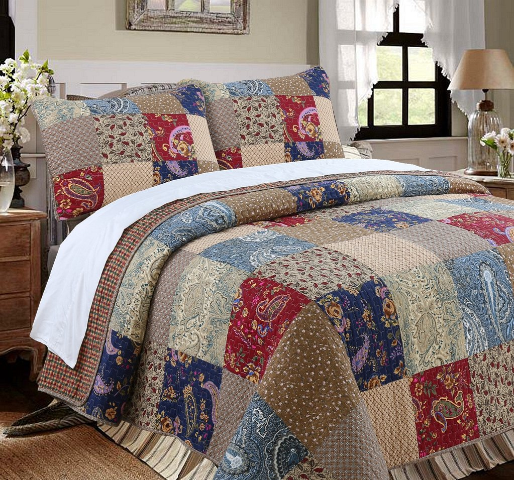 Cozy Line Home Fashions Sanders Floral Real Patchwork Red Navy Country Style 100% Cotton Reversible Coverlet, Bedspread, Quilt Bedding Set, Gift for Women (Red/Navy, King - 3 Piece)