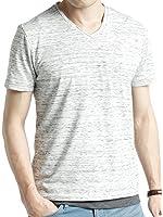 (オークランド) Oakland Vネック フライス カットソー 杢調 ストレッチ 長袖 半袖 ゆる Tシャツ コットン カラー メンズ