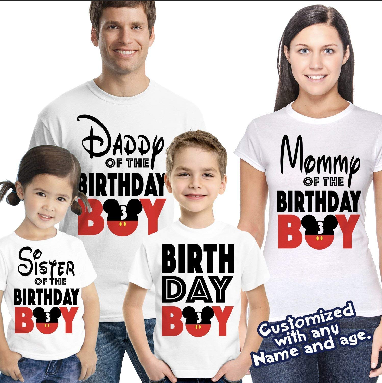 d1eaa293 Amazon.com: Matching Disney Family Birthday Boy Tshirts - Mickey Minnie  Mouse Birthday Girl - Disney Inspired - Matching Birthday Shirts: Handmade