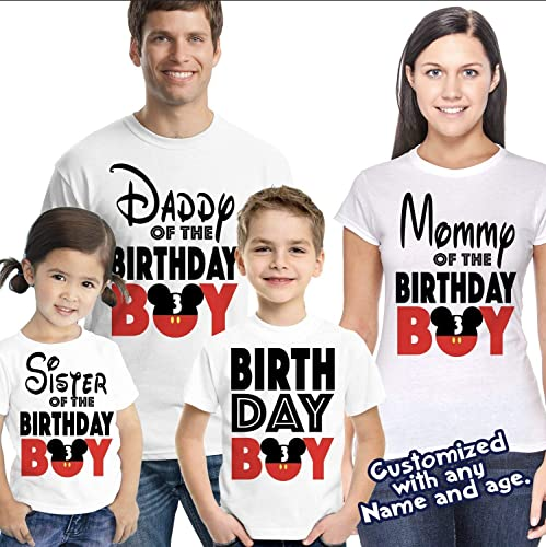 4238e6bea Amazon.com: Matching Disney Family Birthday Boy Tshirts - Mickey Minnie  Mouse Birthday Girl - Disney Inspired - Matching Birthday Shirts: Handmade