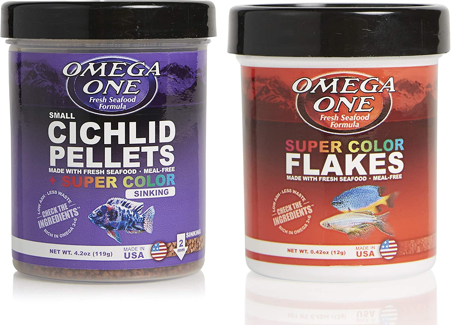 Omega One Cichlid Combo, Pelletes and Super Color Flakes, Variety Pack of 2