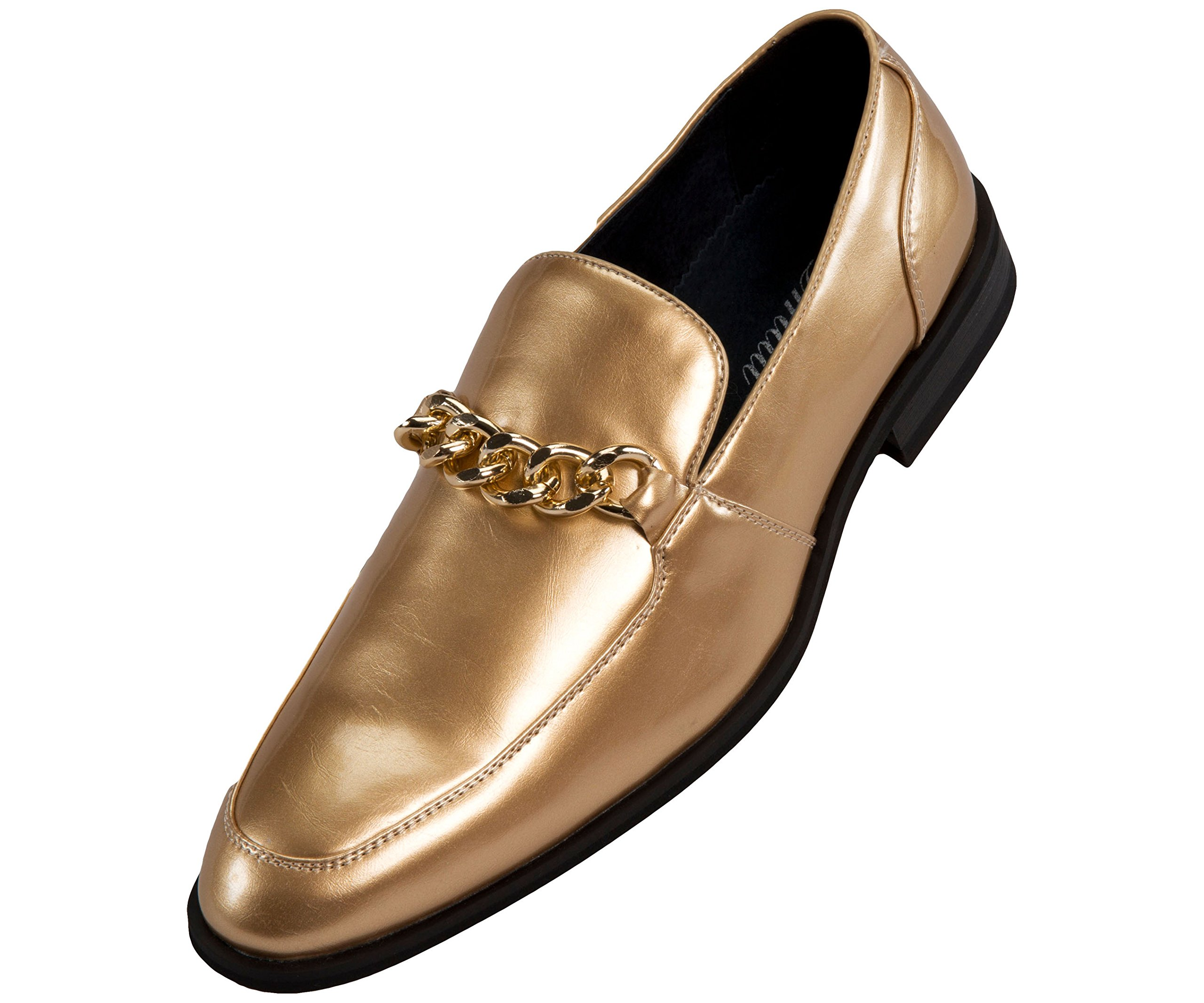 Amali Mens Microfiber & Patent Slip On Dress Shoe with Large Chain Style Vino/Gino