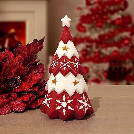 Albero Di Natale Shabby Chic Rosso.Albero Di Natale A Led Shabby Chic Ceramica Blanc Mariclo