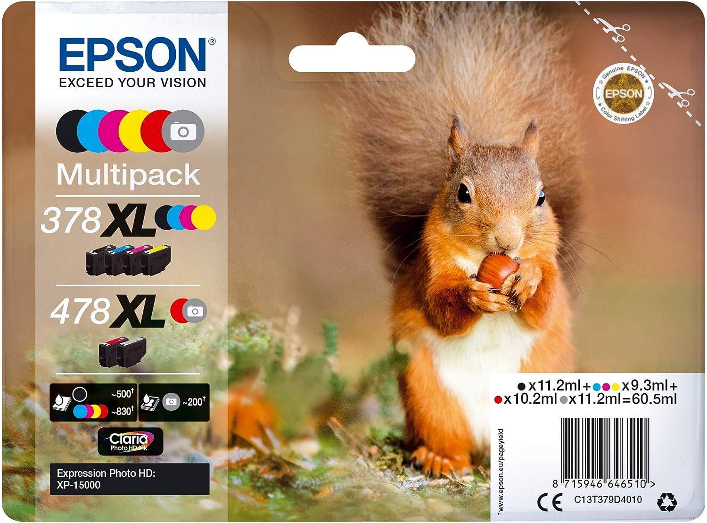 Epson Original 378xl 478xl Tinte Eichhörnchen Xp 15000 Amazon Dash Replenishment Fähig Multipack 6 Farbig Bürobedarf Schreibwaren