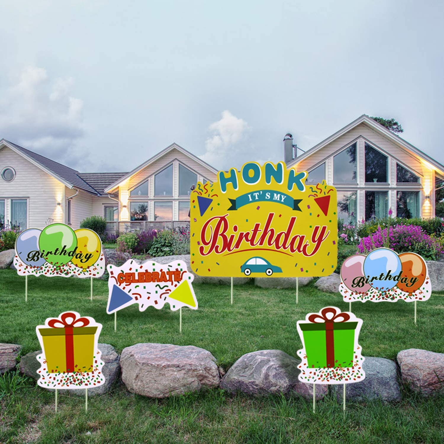Tuoyi HONK It's My Birthday Yard Sign, Set of 6 Waterproof Corrugated Plastic Banner with Metal Stakes Happy Birthday Party Decorations for Outdoor Garden