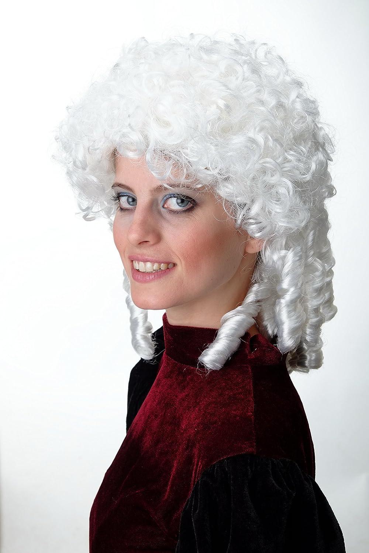 WIG ME UP ® - 91203-ZA62 Peluca Hombres Mujeres Carnaval Halloween Barroco Renacimiento ringlets Rizado Trenzas Blanca: Amazon.es: Juguetes y juegos