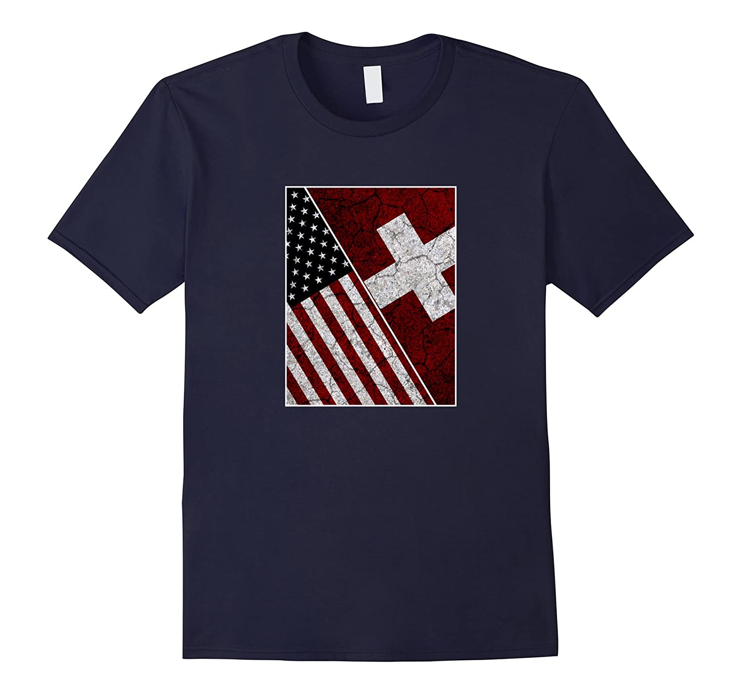 Switzerland USA American Flag T-shirt Distressed-T-Shirt