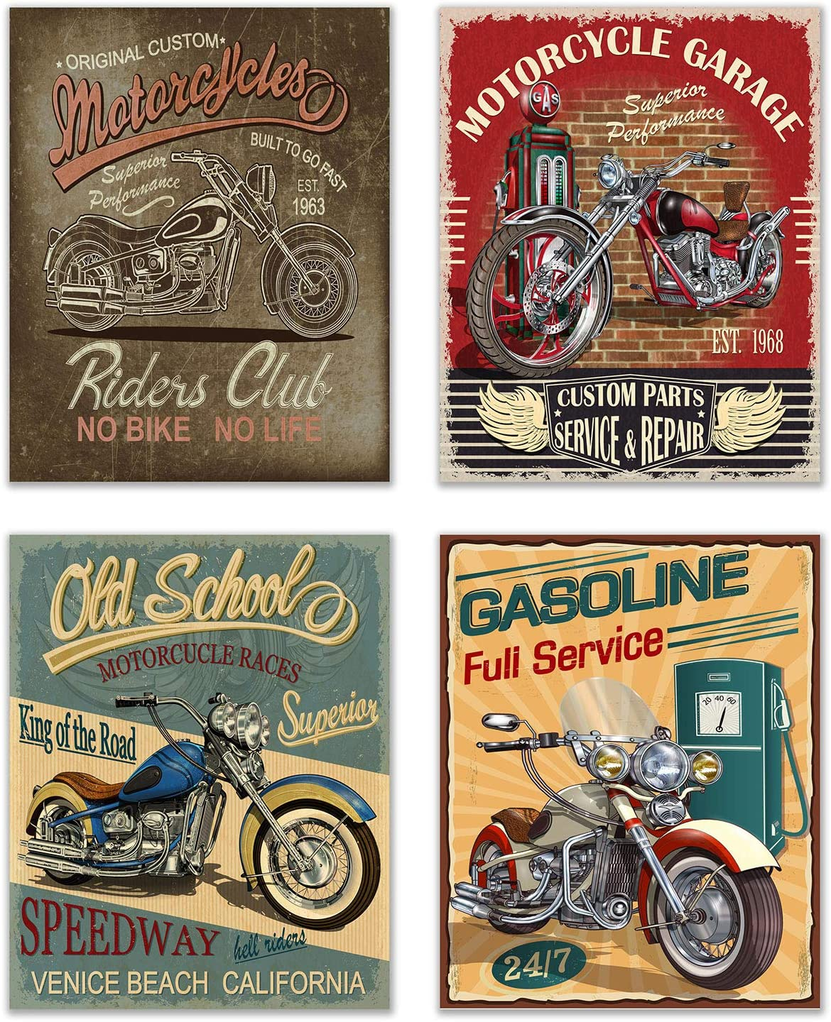 """Infinity Creations Vintage Motorcyles Garage Photo Prints. Set of 4 (8""""x10"""" unframed) Photo Poster Prints Wall Decor"""