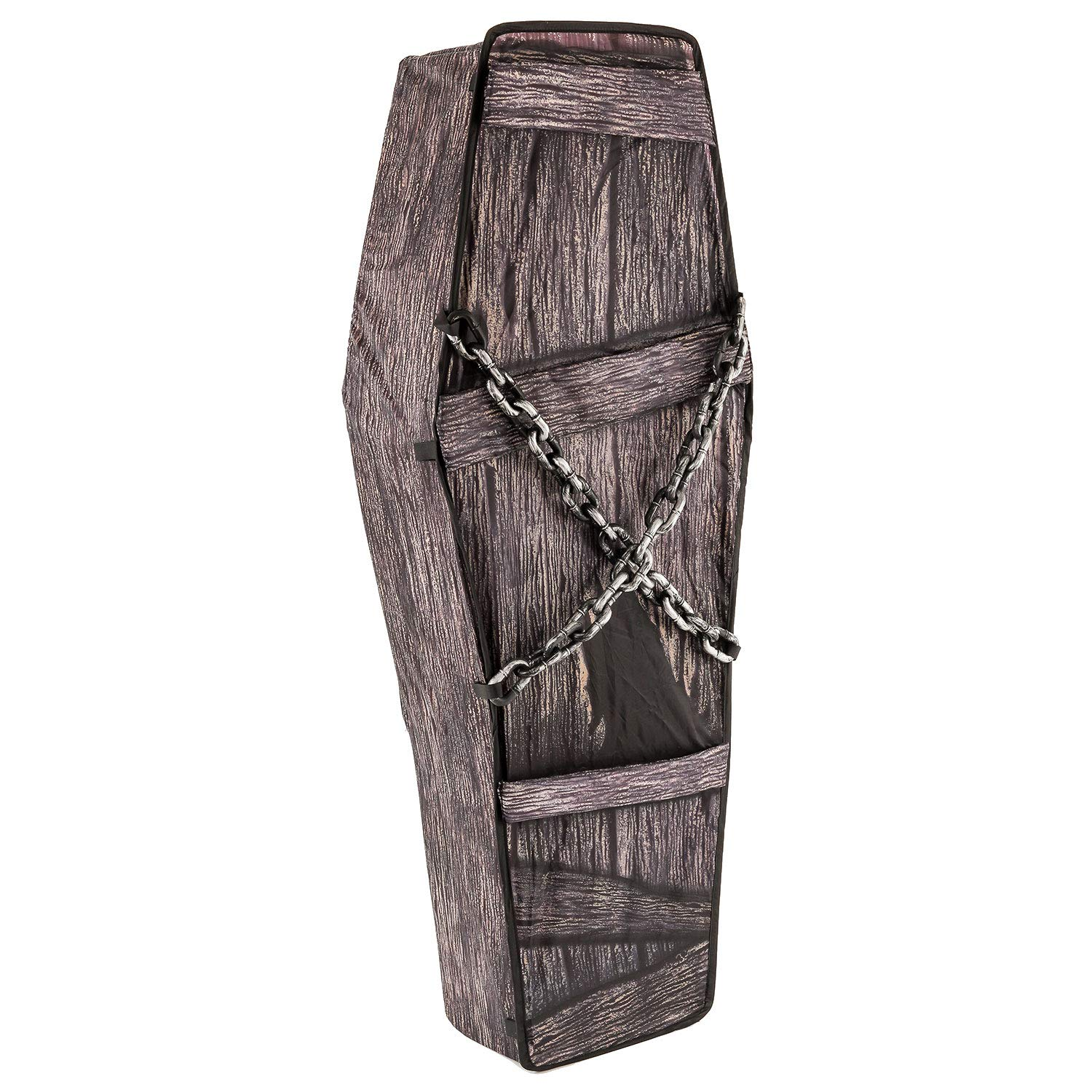 Halloween Haunters 5 Foot Instant Pop-Up Black Coffin with Chains Prop Decoration - Creepy Collapsible Fabric and Wire Casket - Gothic Graveyard Haunted House Party Display