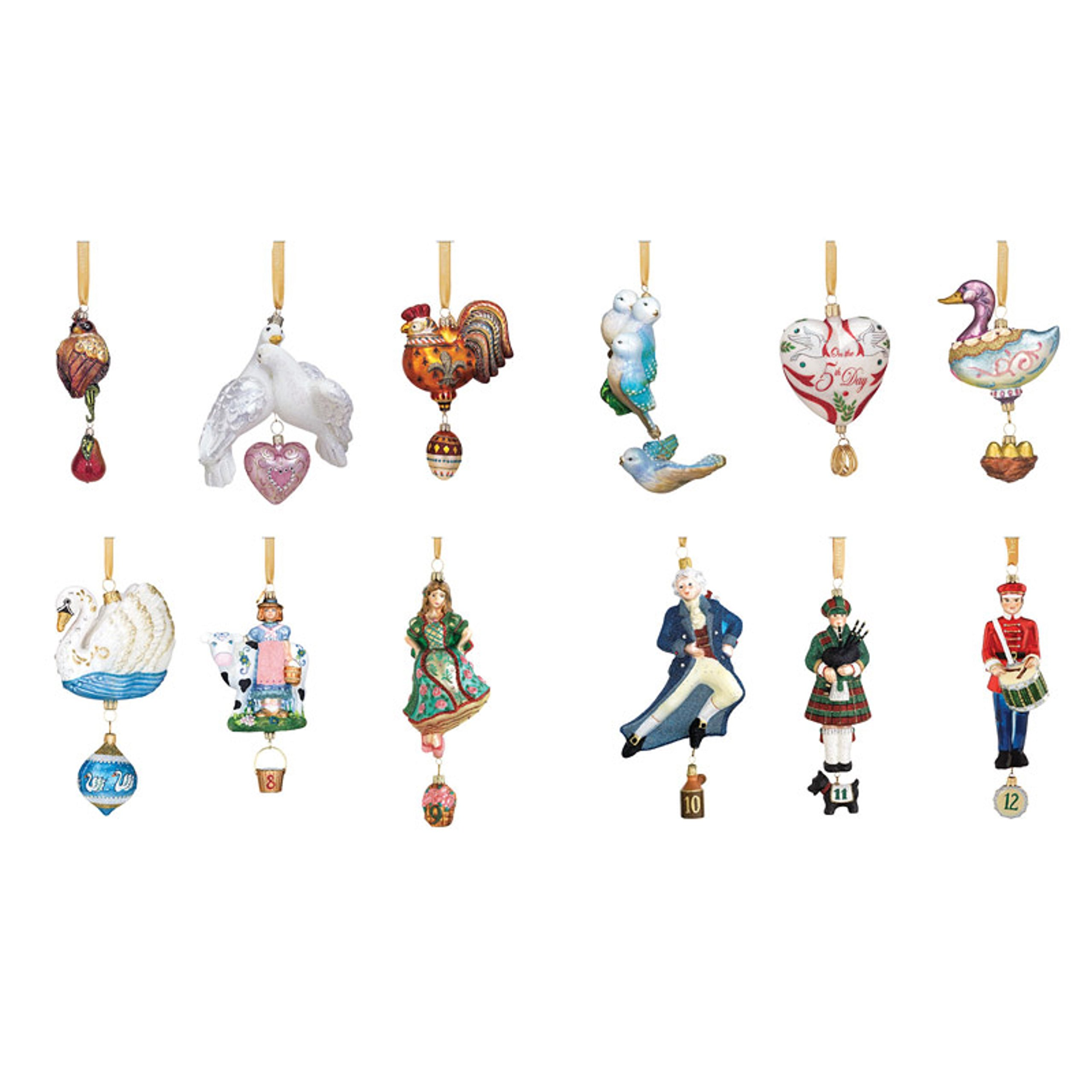 Reed & Barton 12 Days Of Christmas Ornaments Set Twelve Glass Wooden Storage Chest Gift