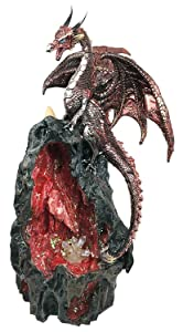 Ebros Ember Sapphire Quartz Dragon On Gemstone Mountain Statue with Backflow Incense Burner and LED Light Crystals Feature Fantasy Decor Figurine