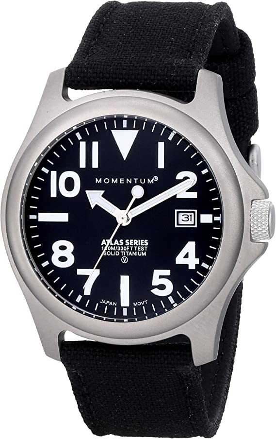 Momentum Men's Atlas 38 Fieldwatch | 100m/330ft Water Resistant | Lightweight Titanium Case