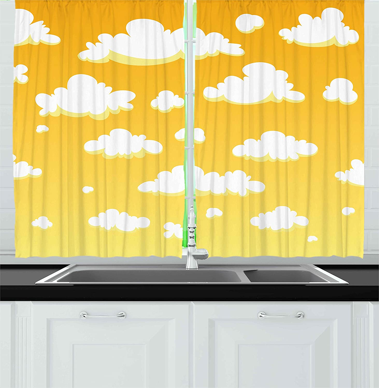 Ambesonne yellow and white kitchen curtains kids room theme cartoon style clouds in the sky atmosphere warm climate window drapes 2 panels set for kitchen