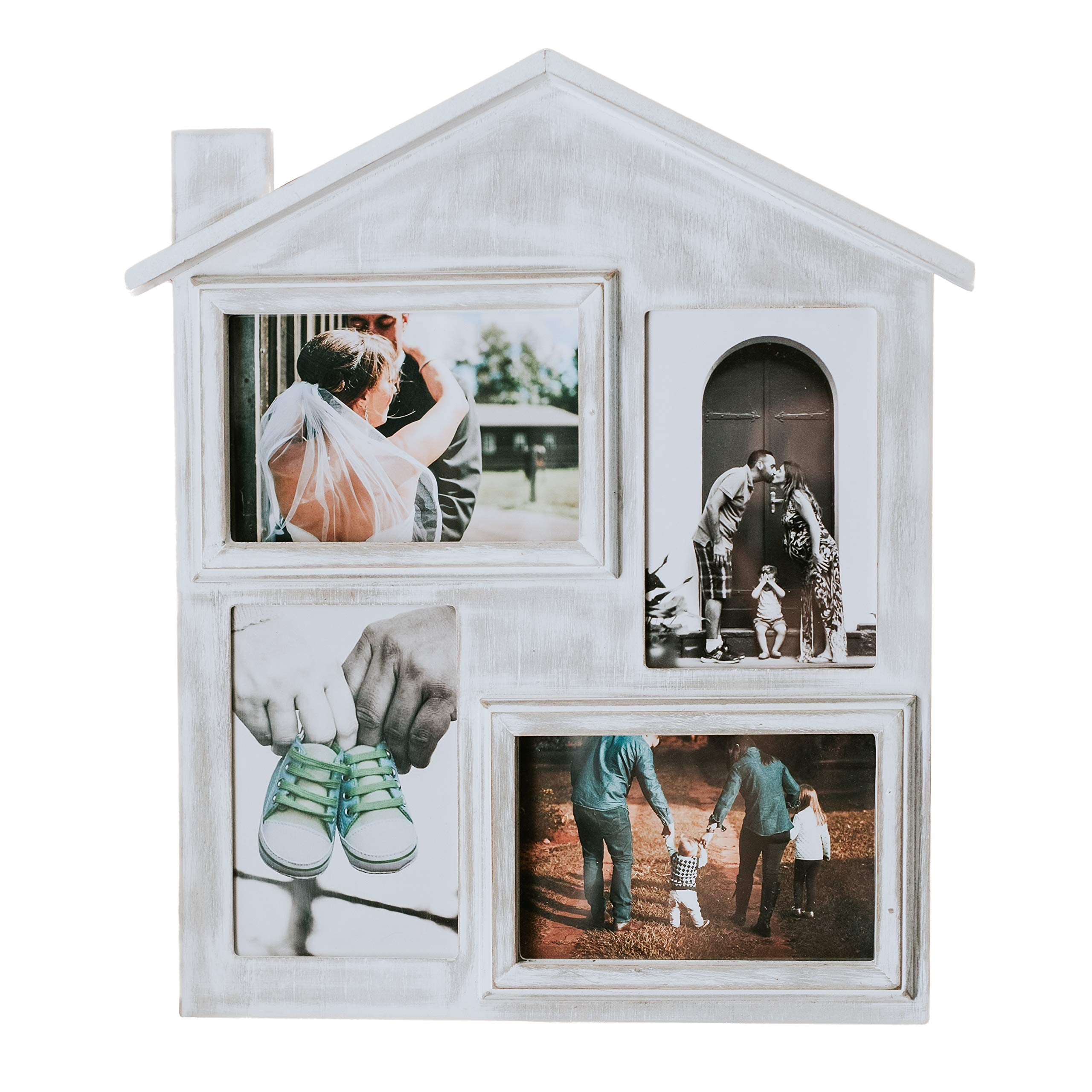 Farmhouse Picture Frame with Four 4 x 6 Picture Openings. Rustic Picture Frame is Ideal for Kitchen, Hanging, or Desk. Picture Frame is Rustic & Vintage Farmhouse Good for Table, Desktop or Wall by FoxCarr