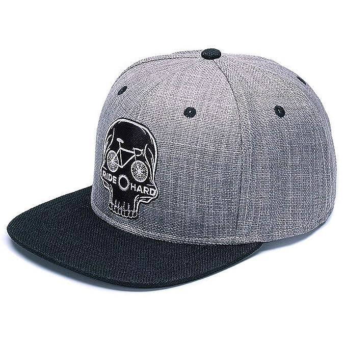 050040dceca Original Baseball Cap Men Snapback Cap Brand Embroidery Skull Cool Hip hop  Cap Linen Skeleton Sports Hats Grey Black at Amazon Women s Clothing store