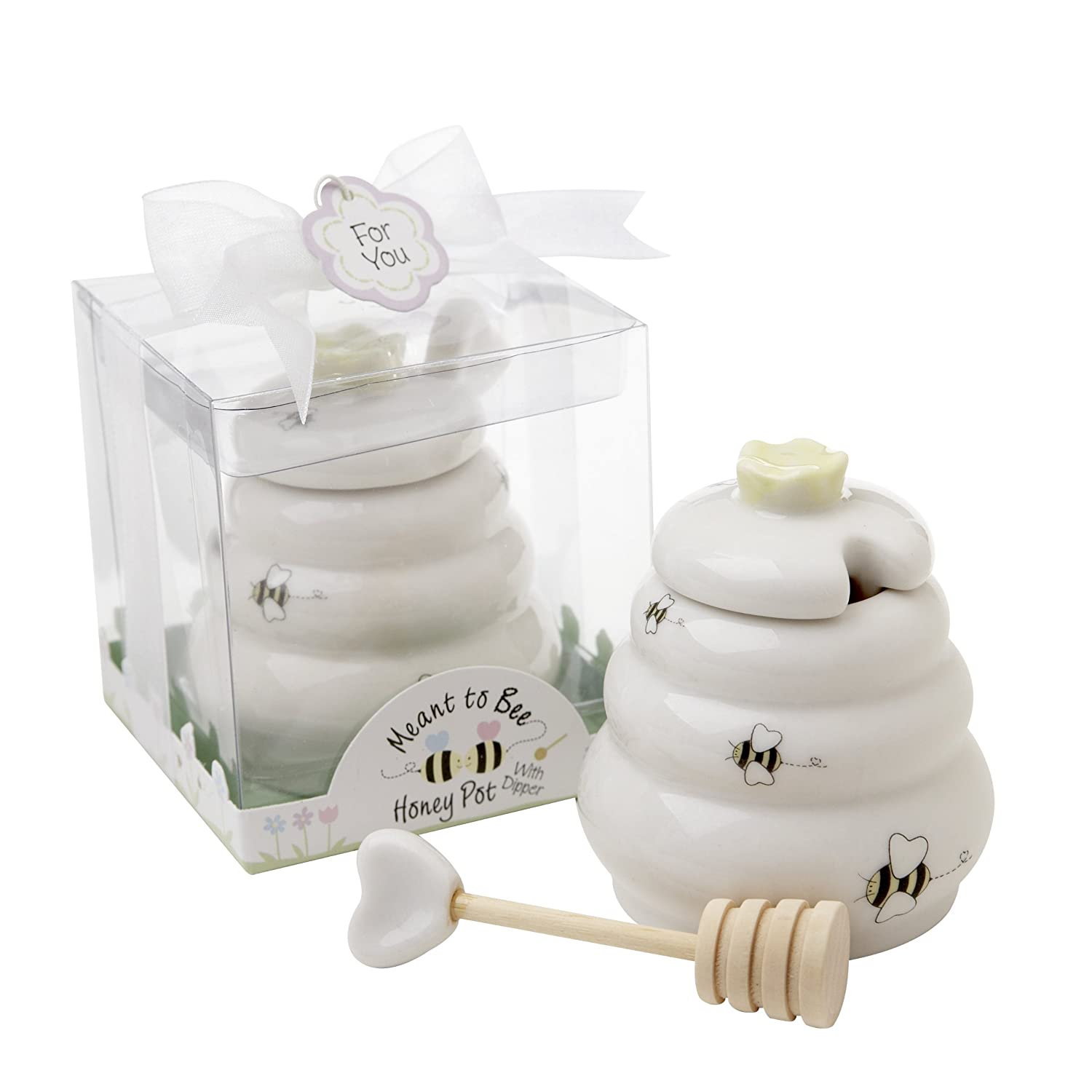 Amazon.com: Meant to Bee Ceramic Honey Pot with Wooden Dipper: Home ...