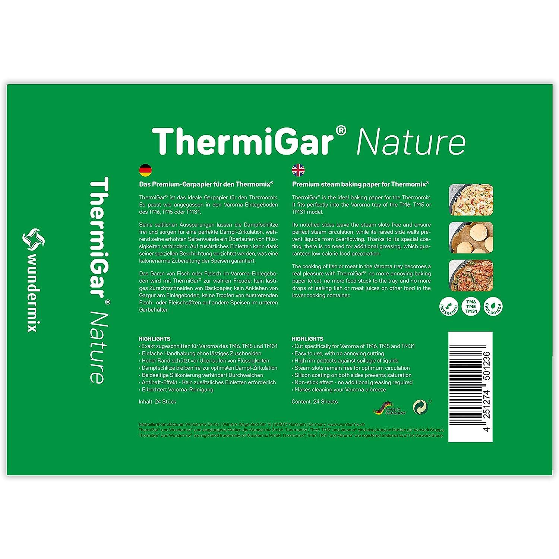 ThermiGar/® /« Nature /» | Papier de Cuisson Varoma Marron Naturel /– Non blanchissant Papier /à Vapeur avec Bord Extra /élev/é pour TM6//TM5//TM31 Papier de Cuisson pour Thermomix Lot de 24