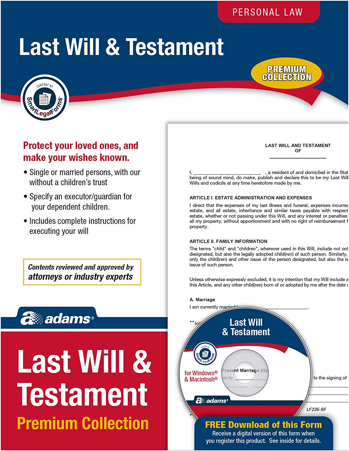 "Adams Last Will & Testament Premium Collection, Forms and Instructions [CD and Downloadable] (LF235), White, 11x""8.5""x0.13"""