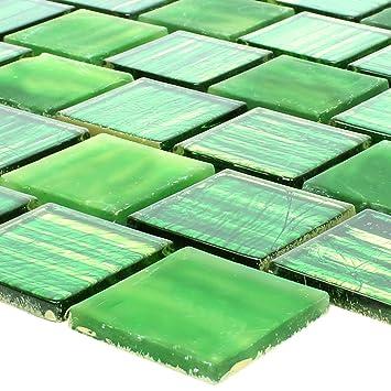 Glasmosaik Fliesen Lanzarote Grün Gestreift Schmal für ...