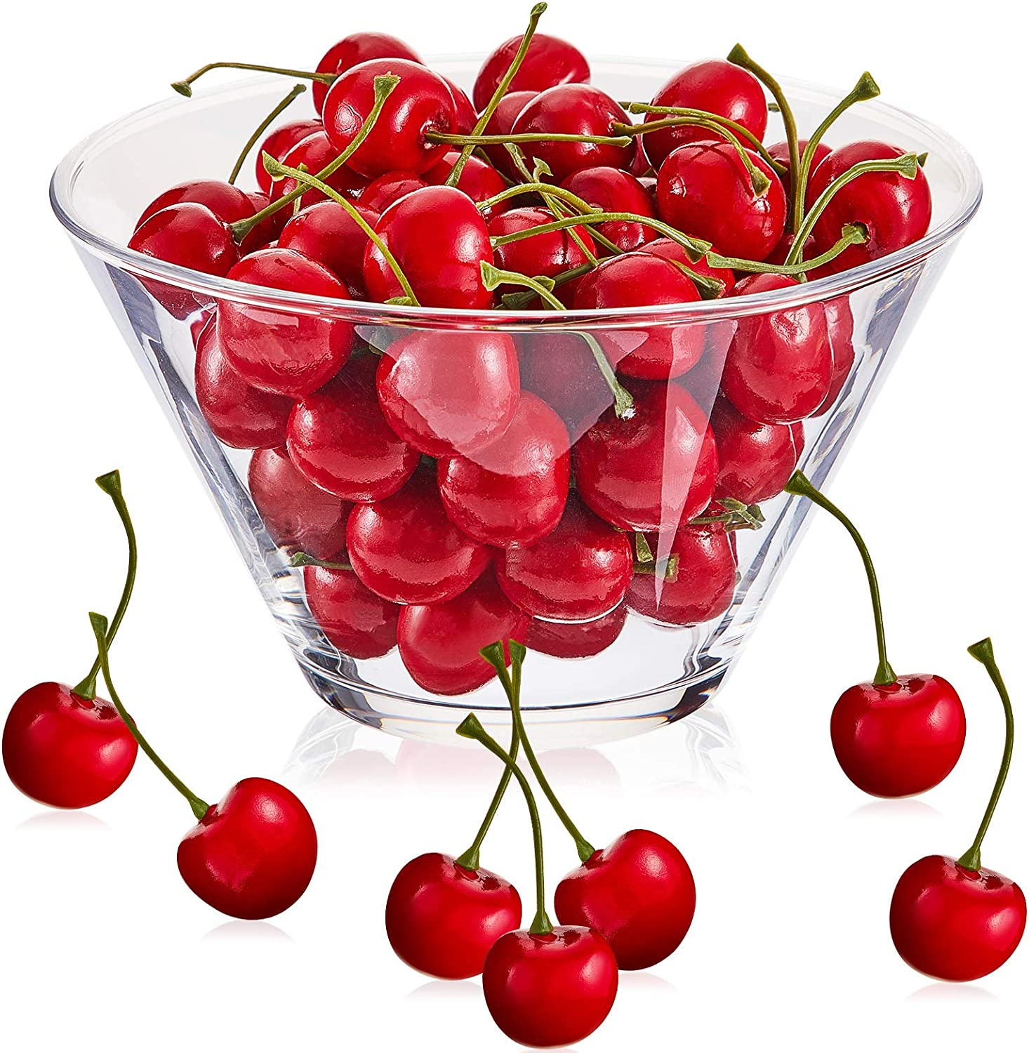 80 Pieces Artificial Lifelike Simulation Cherries Decorative Fruit Cherries Fake Fruit Cherries Fake Fruit Model for Party Decor Home Kitchen Cabinet Decoration Photography Prop Cognitive Toy, Red