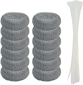 12 Pack Washing Machine Lint Traps with 12 Nylon Cable Ties, Wobe Laundry Mesh Washer Sink Drain Hose Screen Filter the Laundry Water Lint Trap Snare Net Rustproof Lint Catcher