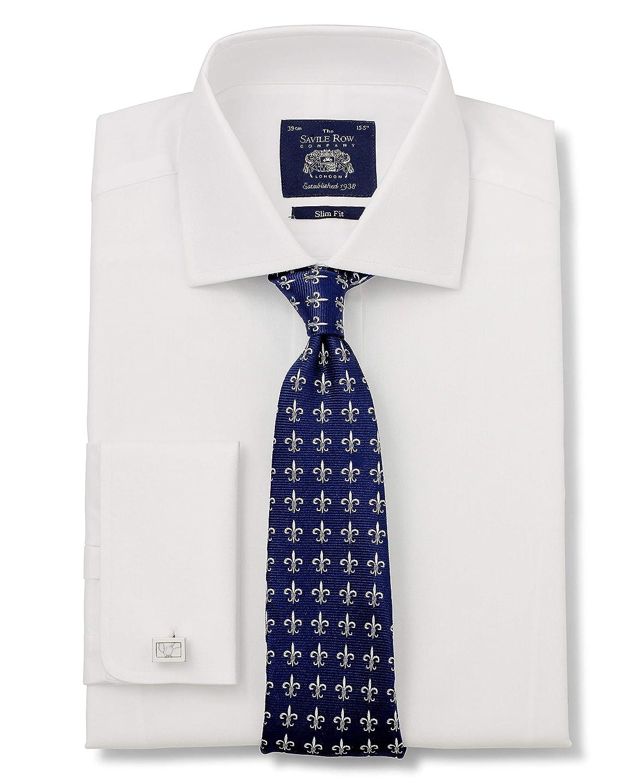 Savile Row Company Mens White Herringbone Slim Fit Shirt Double Cuff
