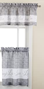 "Achim Home Furnishings Achim Home Imports Live, Love, Laugh Window Curtain Tier Pair and Valance Set Pair & Valance 58"" x 24"", Grey"