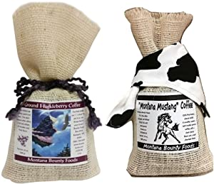 Montana Huckleberry Ground Coffee Mustang - Columbian Arabic Coffee - 2 Pack Gift-Set From Bounty Foods in our Western Style Burlap Bags - Enjoy a Traditional American Breakfast Experience (2PK Cof)