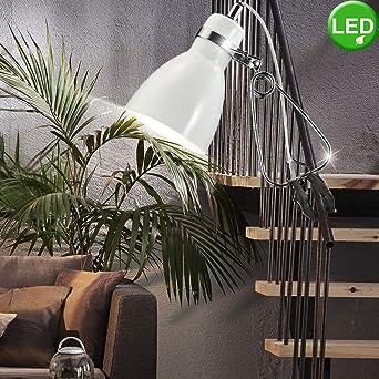 LED Steh Lampe opal weiß Metall Leuchte Ess Wohn Zimmer Beleuchtung Schalter