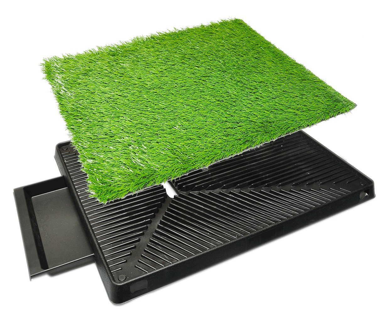 Downtown Pet Supply Dog Pee Potty Pad, Bathroom Tinkle Artificial Grass Turf, Portable Potty Trainer (20 x 25 inches with Drawer) by Downtown Pet Supply (Image #2)